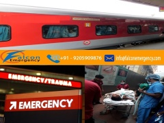 Falcon Emergency Train Ambulance Service in Dibrugarh at Low Cost